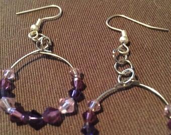 Purple bead hoop earrings