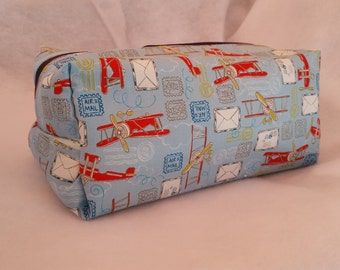 Airplane Cosmetic Bag , zippered box pouch, Toiletry storage