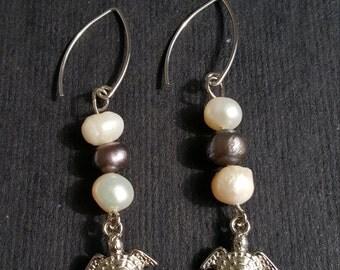 Pearl Turtle Earrings