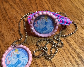 Disney Princess Cinderella Bottle Cap Jewelry Set