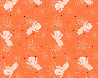 SALE!-Casper Creepy Cute with Spider Webs Fabric Orange From Quilting Treasures