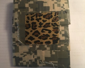Camouflage/cheetah print durable duck tape wallet