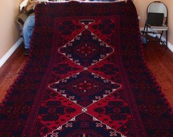 Caucasian Rug 100% Wool 12.8 ft. L x 6.8 ft. W, Circa. 1990 - Кавказский ковер сделан из шерсти (3.91 m. W x 2.02 m. L); Import From Russia
