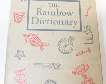 The Rainbow Dictionary, Vintage Children's Dictionary, Hardcover Illustrated Book