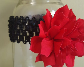 Red and black infant headband