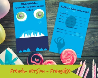 The Friendly Blue Monster (English version) - two-sided Invitation for children's party - unfolded vertical - 117 x 182 mm