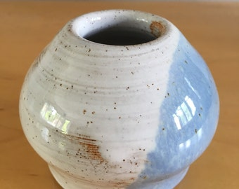 White and blue hand thrown pot (010)
