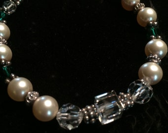 Swarovski Crystals and Pearl Bracelet