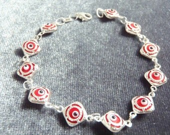Sterling Silver Lightweight Red Evil Eye Bracelet RB5