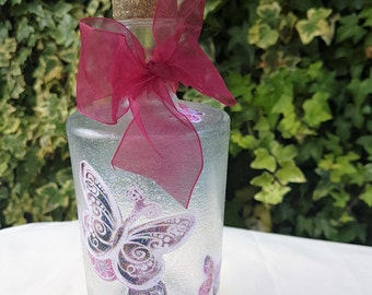 Sparkly Glass Butterfly Bottle