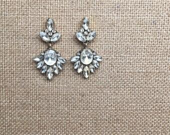 Crystal Chandelier Earrings Vintage gold bridal earrings chandelier rhinestones
