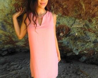 SALE Pink Green Neon Chiffon Dress