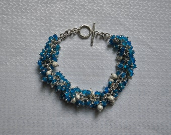 Stunning Apatite and Sterling Silver Bracelet