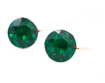 Georgian Silver and Emerald Green Paste Button Conversion Earrings