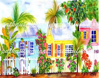 Tropical Watercolor Cottage Alley Art Living Coastal Pat
