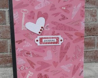 Altered Composition Book, Journal, Hearts