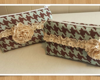 Brown and mint Houndstooth cowgirl cosmetic bags