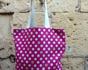 Fuchsia polka dot bag