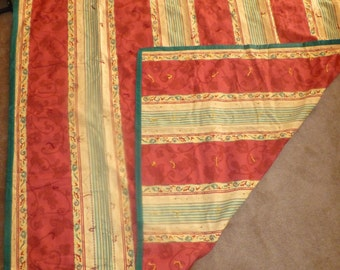 "Handmade Tied Quilt 52 x 68"" Red, Yellow, Green"