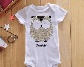 Personalized baby bodysuit, owl baby clothes, custom baby onesie, custom baby bodysuit, personalized baby onesie, unique baby onesies