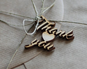 Small Thank you tags, Wedding tags, Thanksgiving tags, Wooden tags, Wedding favor tags, Giftwrapping supplies, Set of 5 pcs