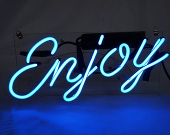 "New 'Enjoy' Art Banner Garage Sign Perfect Gift Neon Light Sign 10""x9"""
