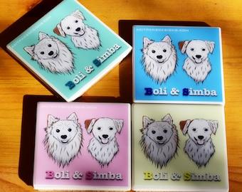 Handmade Custom Ceramic Coasters for Dog Lovers Gift