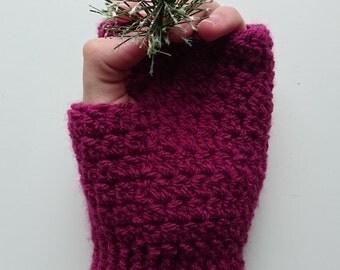 Soft Fingerless Gloves/  Ribbed Glove/  Burgundy Gloves/ Crochet Gloves/ Handmade Fingerless Gloves/ Adult Gloves/ Plum Gloves