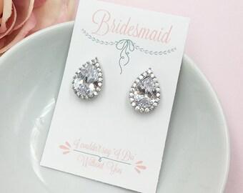 Bridesmaid Pear Earrings, Stud CZ Earrings, Bridesmaid Jewelry Gift, Bridesmaids Dangle Earrings, Personalized Jewelry 483688871