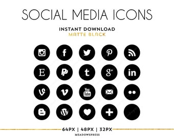 Black Social Media Icons Blogger Wordpress Blog Buttons Logos White Icon Button Instant Download PNG Circles Blogs Website Template Graphics