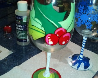 Set of two Christmas Painted Wine glasses.Early bird special.
