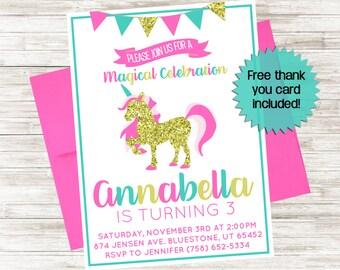 Unicorn Birthday Invite 5x7 Invitation Girls Glitter Personalized Gold Pink Horse