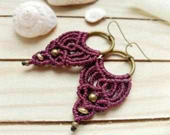 Macramé earrings available in various colors