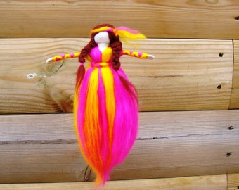hippy doll felted, needle felted hippy, wool flower girl, felted flower Isabella, needle felted flower, pink yellow pixie, Waldorf hippy toy