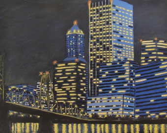 PRINT Portland   Oregon city night river  bridge acrylic painting matted reproduction ready to frame Ships FREE USA