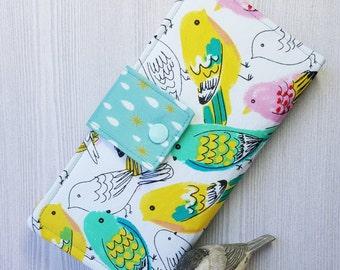 Womans wallet, Colorful drawn birds, Bifold fabric wallet, Slim Clutch wallet, Womens handmade wallet, card wallet, checkbook wallet, gift
