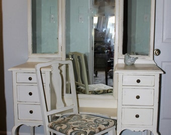 Vintage Vanity with Chair and Original Hardware