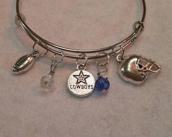 Dallas Cowboys  adjustable bangle, custom  your stones football cowboys   charm bracelet