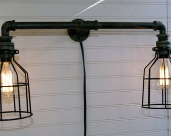 Industrial Farmhouse Iron Pipe 2 Wall Light with Cage, black iron or galvanized