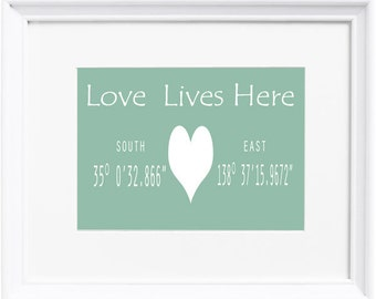 Love Lives Here Personalised Coordinate Print