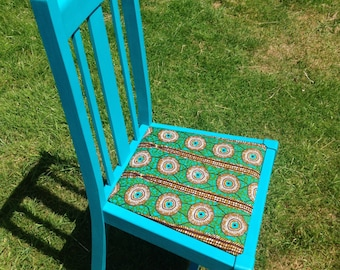 African Wax Print Upholstered Chair