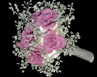 Bridal bouquet from beads, french beaded wedding flowers lilac roses