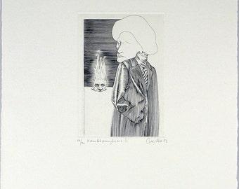 Hamletparaphrase III, 1982. Copper engraving by Jürgen CZASCHKA