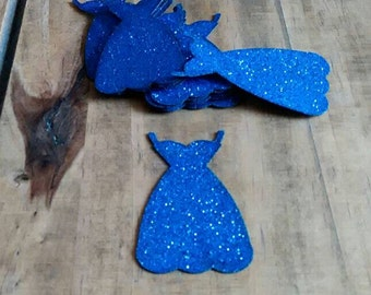 8 x navy blue glitter dresses card embellishments toppers scrapbooking