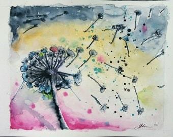 Original Dandelion in a Storm Watercolour 8x10