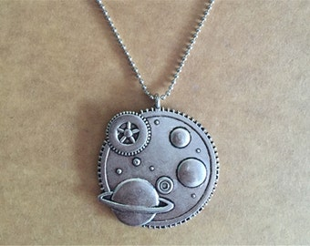 Steampunk Charm Necklace,Universe Necklace, Galaxy