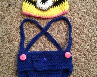 Minion diaper cover and hat