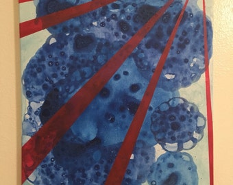 Original Abstract : Ink Blot / Radial Art on 16x20 canvas