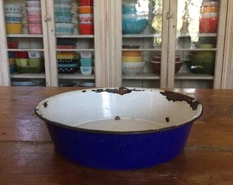 Cobalt blue enamel bowl
