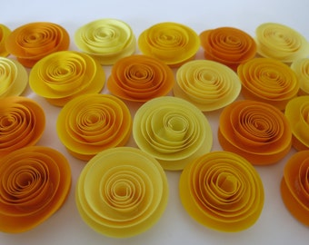 """Ombre Yellow paper flowers, 24 pieces set, 1.5"""" roses, Baby shower decorations, Fall foliage colors autumn wedding decor Thanksgiving dinner"""
